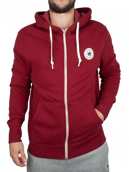 Converse Red Block Core Zip Logo Hoodie