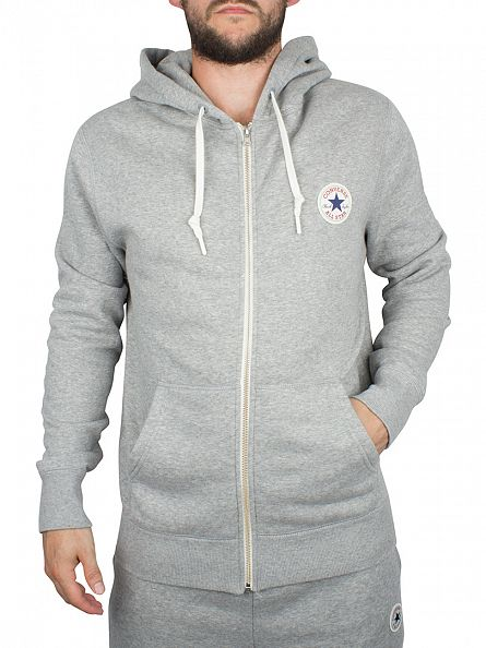 Converse Vintage Grey Heather Core Zip Logo Hoodie