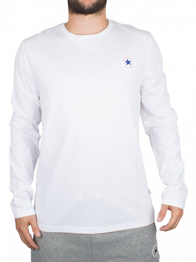 Converse White Longsleeved Core Left Chest Logo T-Shirt