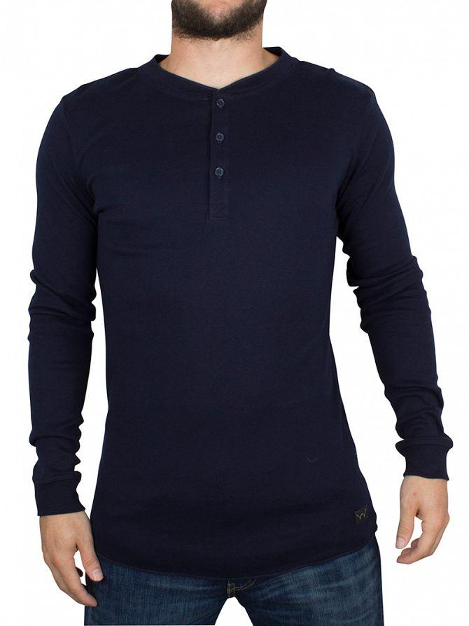 Edwin Navy Longsleeved Oarsman Henley T-Shirt