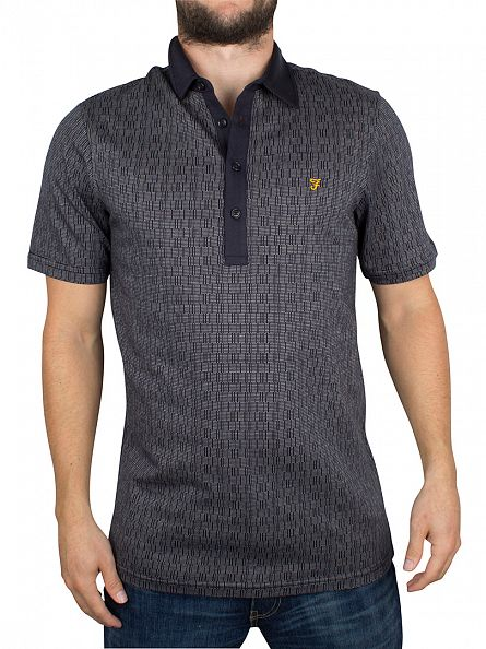 Farah Vintage True Navy Critchley Pattern Logo Polo Shirt