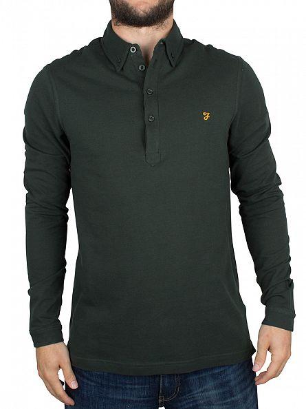 Farah Vintage Ripe Avacado Longsleeved Merriweather Logo Polo Shirt