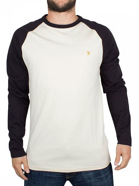 Farah Vintage Ecru/Black Longsleeved Raglan Holmwood Logo T-Shirt