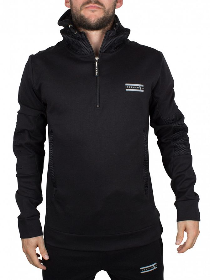 Foray Black Mineral Mesh Panel Hoodie