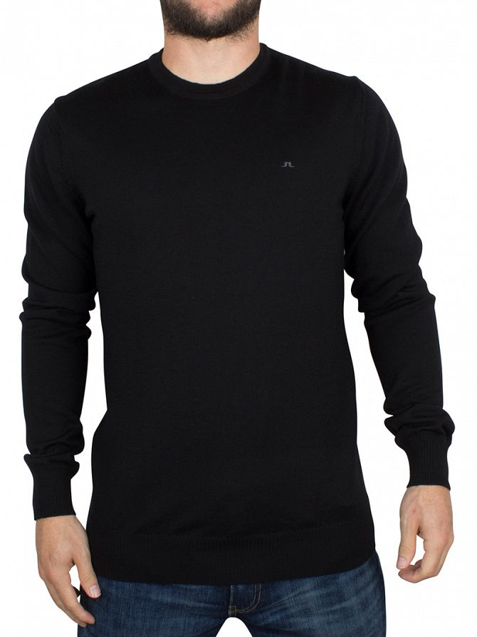 J Lindeberg Black Lyle True Merino Logo Knit