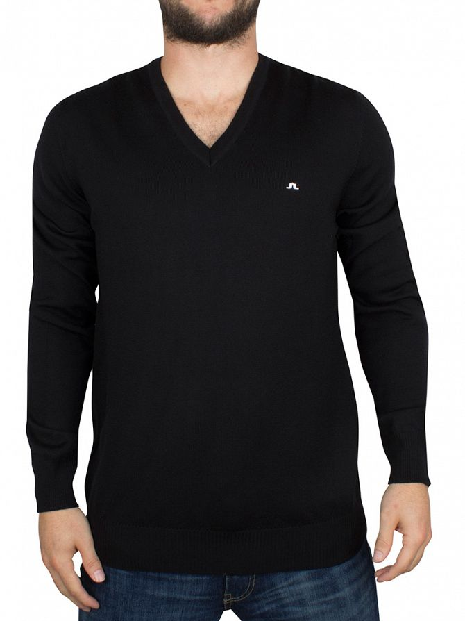 J Lindeberg Black Lymann True Merino V-Neck Knit