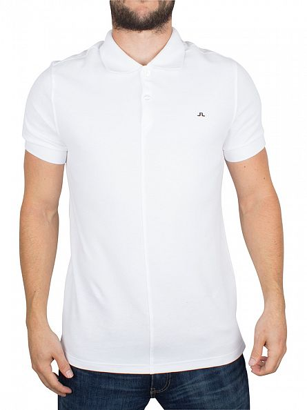 J Lindeberg White Slim Fit Rubi Pique Logo Polo Shirt
