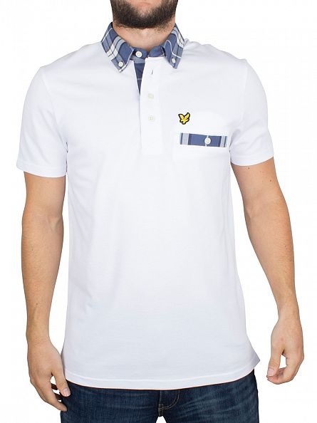 Lyle & Scott White Checked Trim Collar Logo Polo Shirt