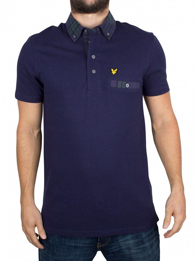 Lyle & Scott Navy Checked Trim Collar Logo Polo Shirt