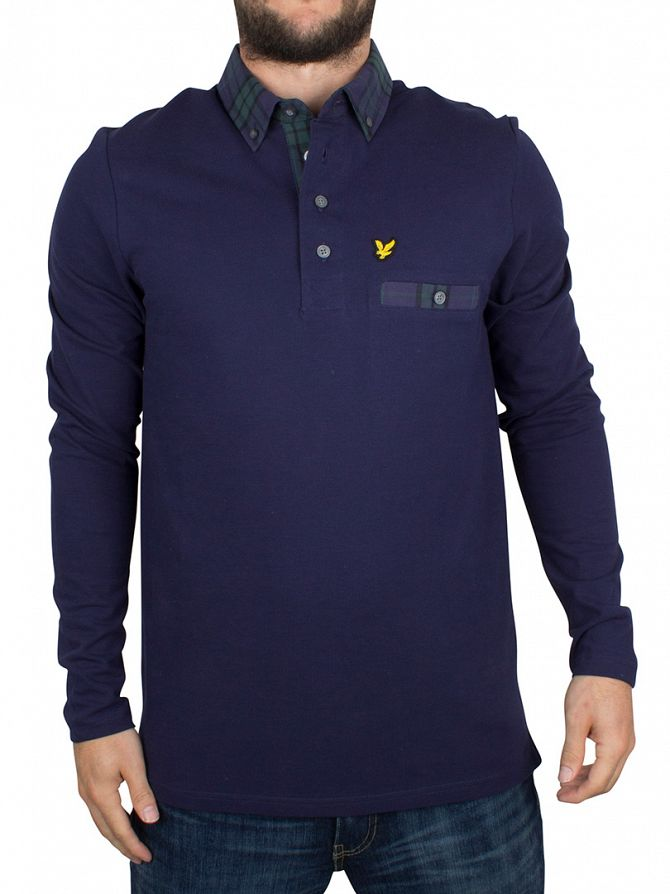 Lyle & Scott Navy Longsleeved Checked Trim Collar Logo Polo Shirt