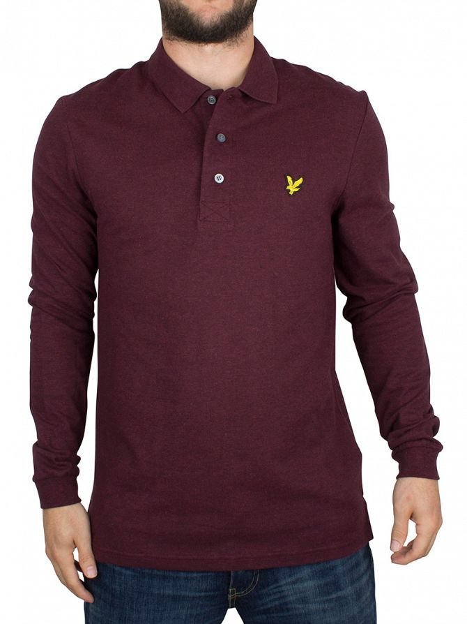 Lyle & Scott Claret Marl Longsleeved Logo Polo Shirt
