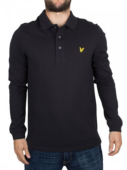 Lyle & Scott True Black Longsleeved Logo Polo Shirt