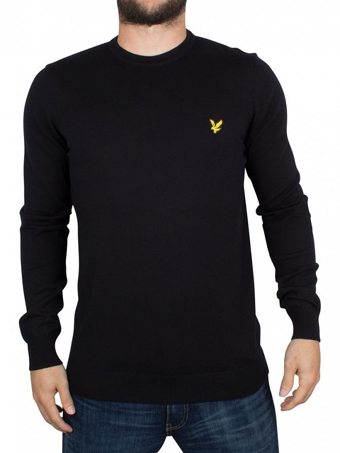 Lyle & Scott True Black Merino Logo Knit