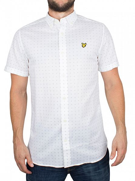 Lyle & Scott White All Over Square Dot Print Shortsleeved Shirt