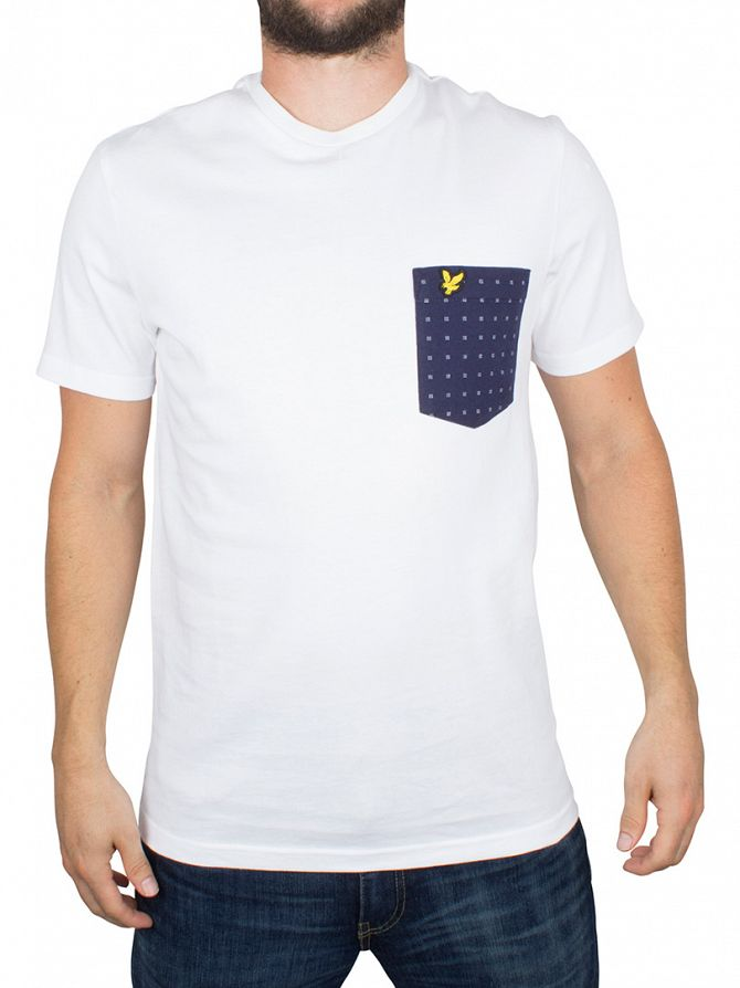 Lyle & Scott White Square Dot Pocket Logo T-Shirt