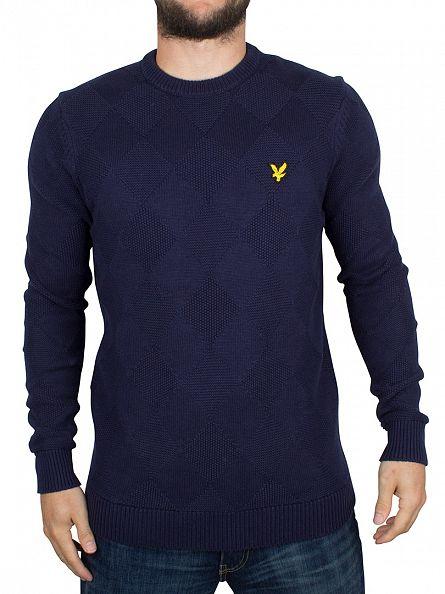 Lyle & Scott Navy Textured Argyle Logo Knit