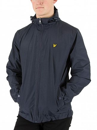 Lyle & Scott Navy Zip Through Hooded Logo Jacket