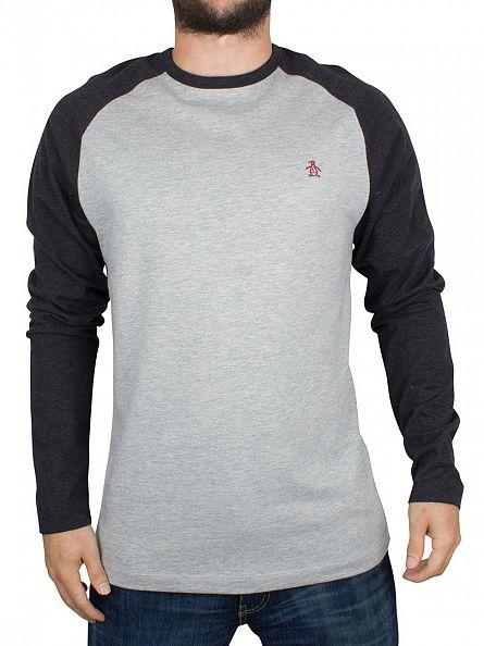 Original Penguin Rain Heather Longsleeved Raglan Baseball T-Shirt