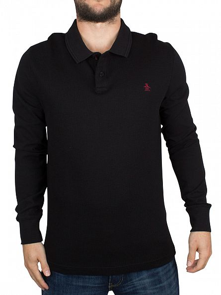 Original Penguin True Black Longsleeved Slim Fit Waffle Front Winston Logo Polo Shirt