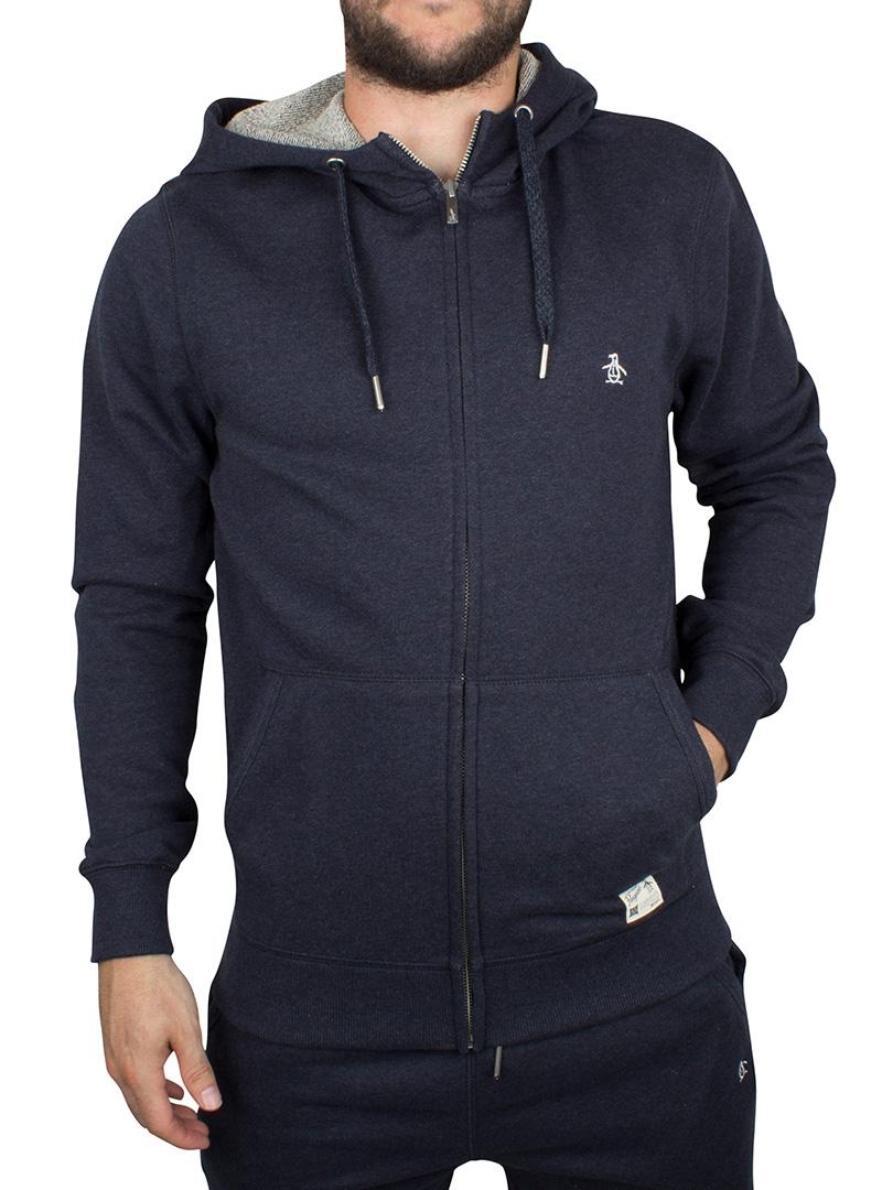 original penguin dark sapphire melange marl loopback logo zip hoodie