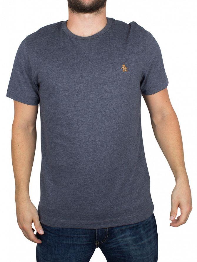 Original Penguin Dark Sapphire Melange Peached Jersey Marled Logo T-Shirt