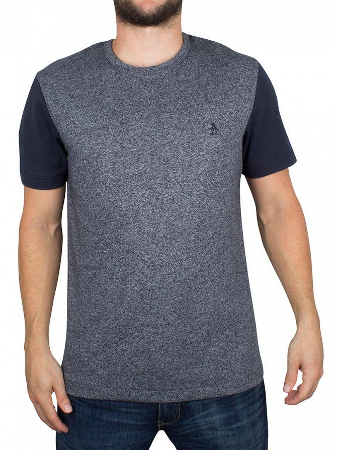 Original Penguin Dark Sapphire Raglan Contrast Mouline Logo T-Shirt