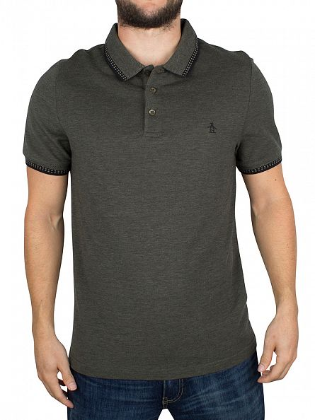 Original Penguin Dusty Olive Slim Fit Birdseye Pique Tipped Logo Polo Shirt