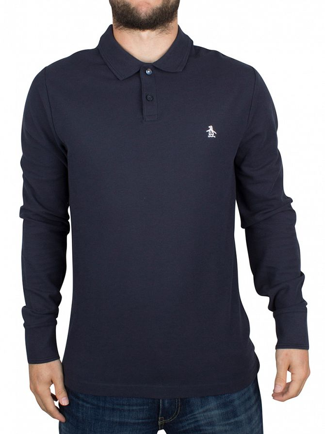 Original Penguin Dark Sapphire Slim Fit Longsleeved Winston Logo Polo Shirt