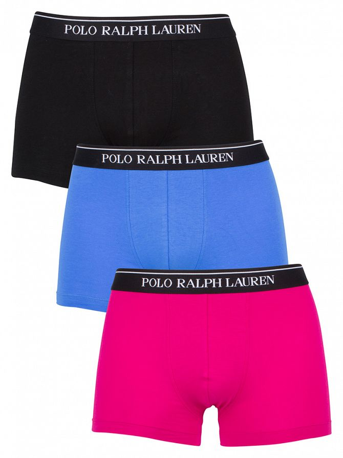 Polo Ralph Lauren Pink/Blue/Black 3 Pack Classic Pouch Stretch Logo Trunks