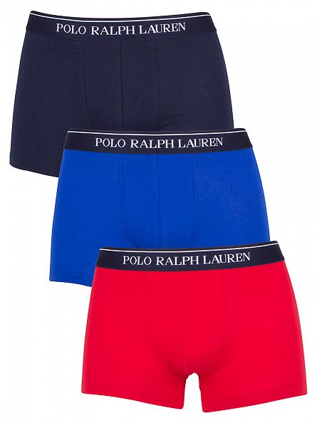 Polo Ralph Lauren Red/Blue/Navy 3 Pack Classic Pouch Stretch Logo Trunks