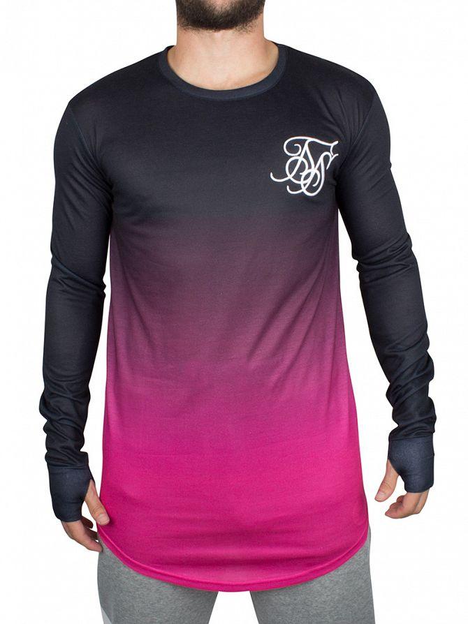 Sik Silk Black/Pink Longsleeved Pink Dip Dye Curved Hem T-Shirt