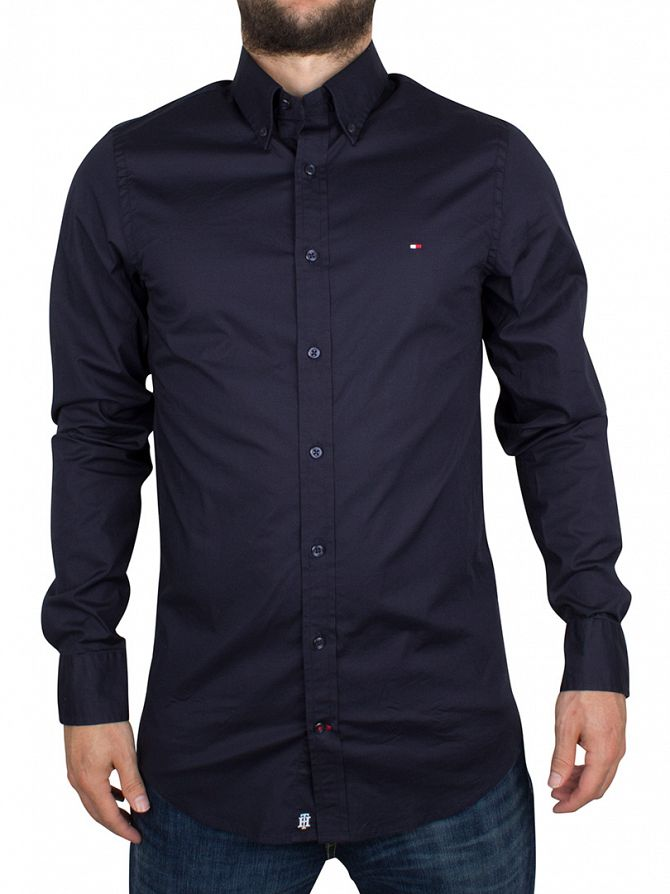 Tommy Hilfiger Midnight Slim Fit Stretch Poplin Logo Shirt