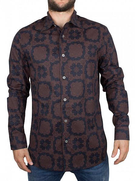 Vivienne Westwood Terracotta/Navy Classic Over All Print Shirt