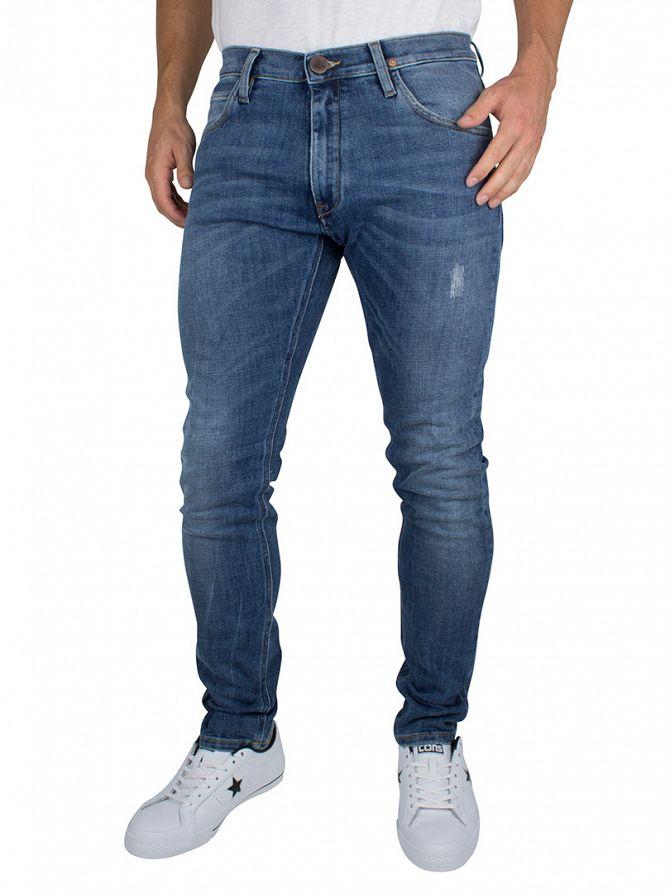 Vivienne Westwood Light Blue Denim Drainpipe Orb Logo Denim Jeans