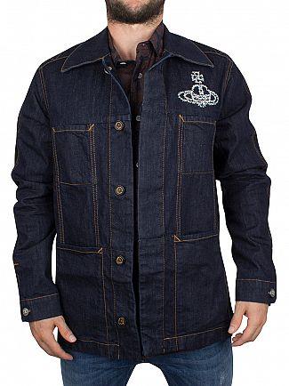 Vivienne Westwood Dark Denim Workers Logo Denim Jacket