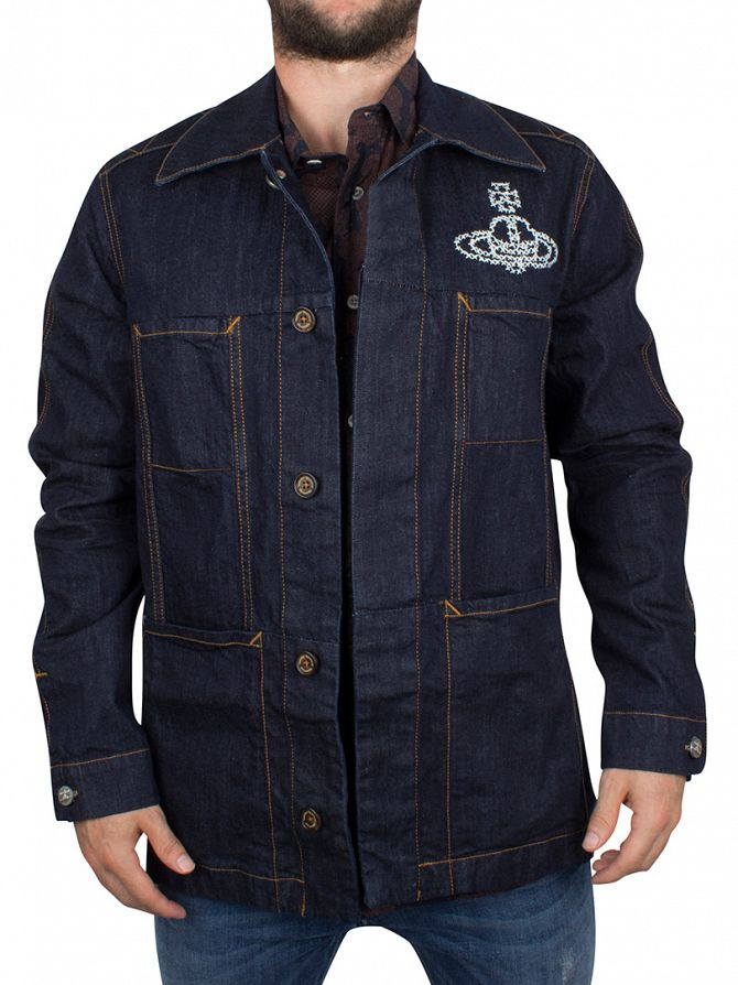 Vivienne Westwood Dark Denim Workers Logo Denim Jacket
