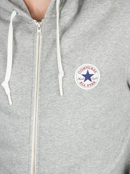 Converse Vintage Grey Heather Core Zip Logo Hoodie