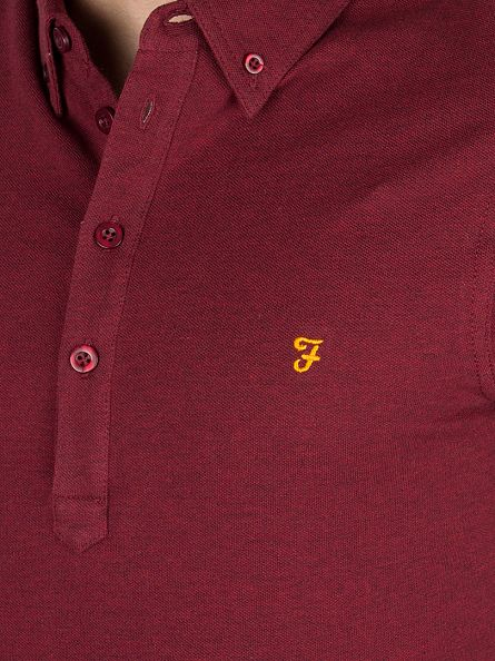 Farah Vintage Currant Marl Longsleeved Merriweather Logo Polo Shirt