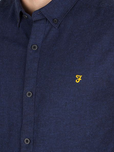 Farah Vintage True Blue Slim Fit Steen Logo Shirt