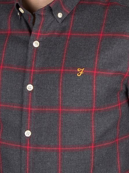 Farah Vintage Charcoal Slim Fit Umber Checked Logo Shirt