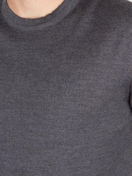 J Lindeberg Grey Melange Lyle True Merino Logo Knit