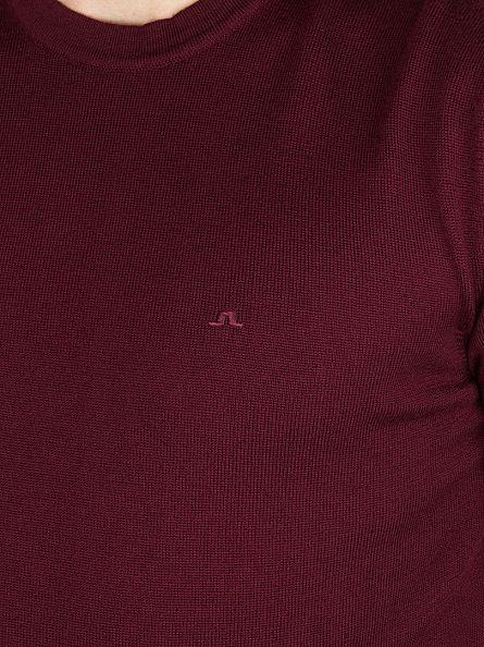 J Lindeberg Burgundy Lyle True Merino Logo Knit
