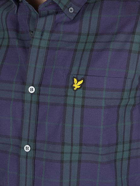 Lyle & Scott Blue Checked Logo Shirt