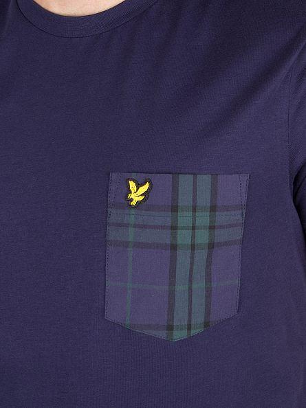 Lyle & Scott Navy Woven Check Contrast Pocket Logo T-Shirt