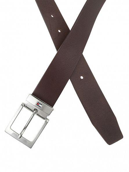 Tommy Hilfiger Brown New Denton Belt Logo Belt