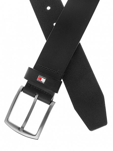 Tommy Hilfiger Black New Denton Belt Logo Belt