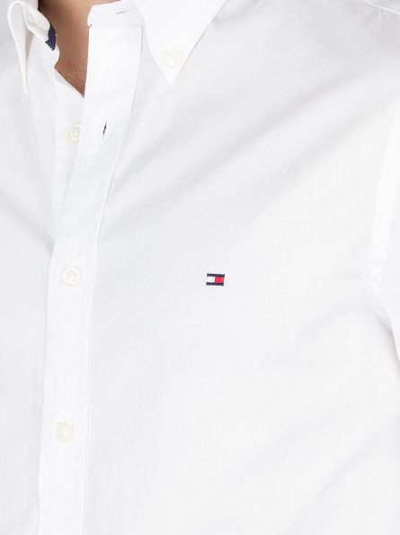 Tommy Hilfiger Classic White Slim Fit Stretch Poplin Logo Shirt
