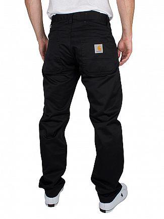 Carhartt WIP Black Rinsed Skill Pant Slim Fit Logo Chinos