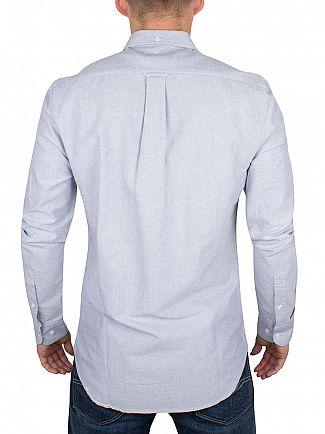 Farah Vintage Blue Anthracite Slim Fit Brewer Logo Shirt