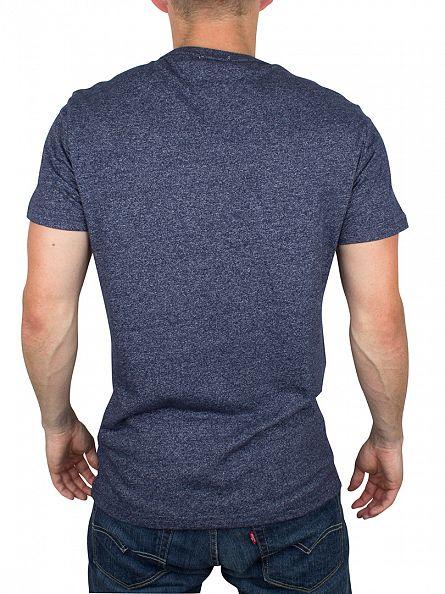 Hilfiger Denim Black Iris Navy THDM Basic Marled Logo T-Shirt